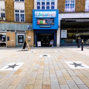 View of stars and Theatre entrance on Church Street after renovation 2018