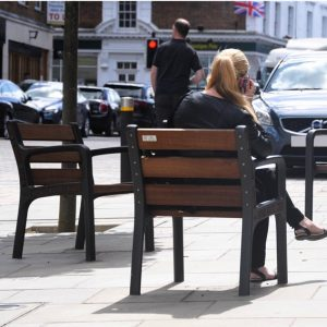 View of people using new street furniture after Church Street renovation 2018
