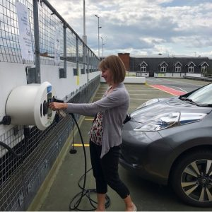 New electric car charging point in the Swan Centre in use.