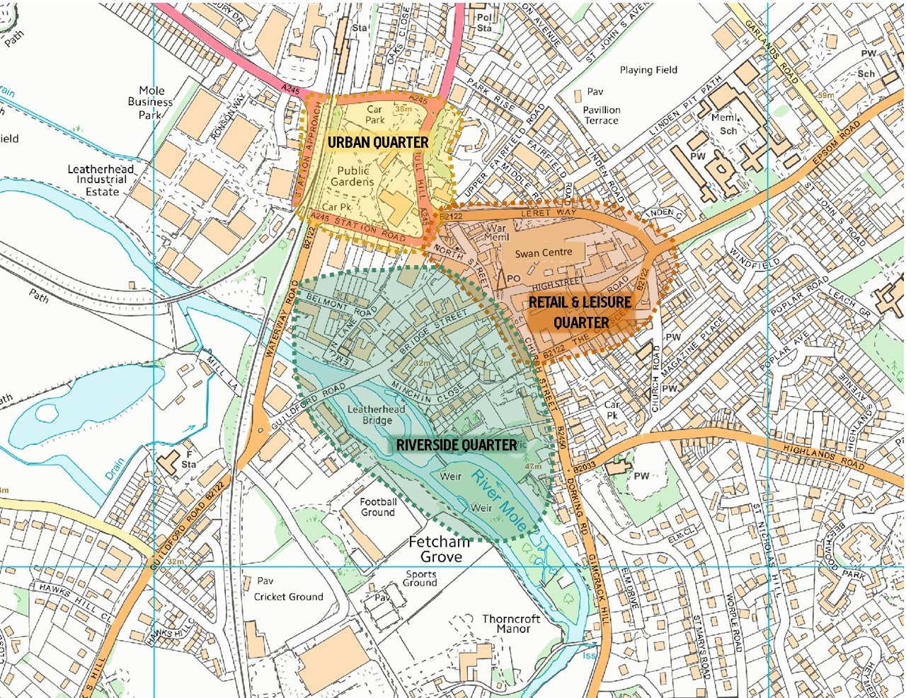 Interactive image showing map of Leatherhead with the key quarters highlighted.