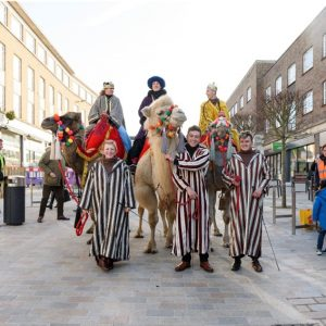 Church Street with camels during the 2017 Christmas event