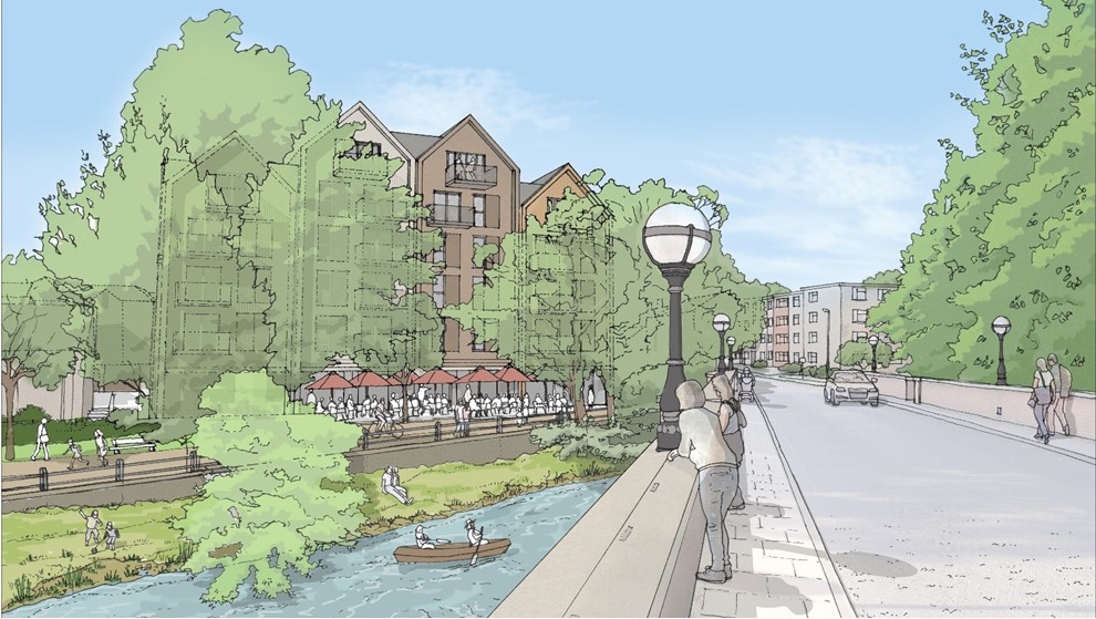 Aritst's impression of he riverside view of the outline plan Claire House and James House