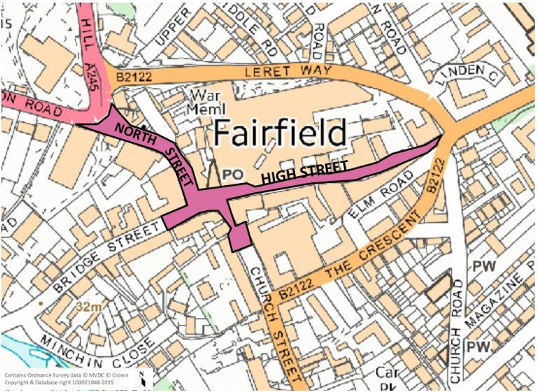 Map of High Street study area including the High Street, North Street and small sectios nof Church Street and Bridge Street.