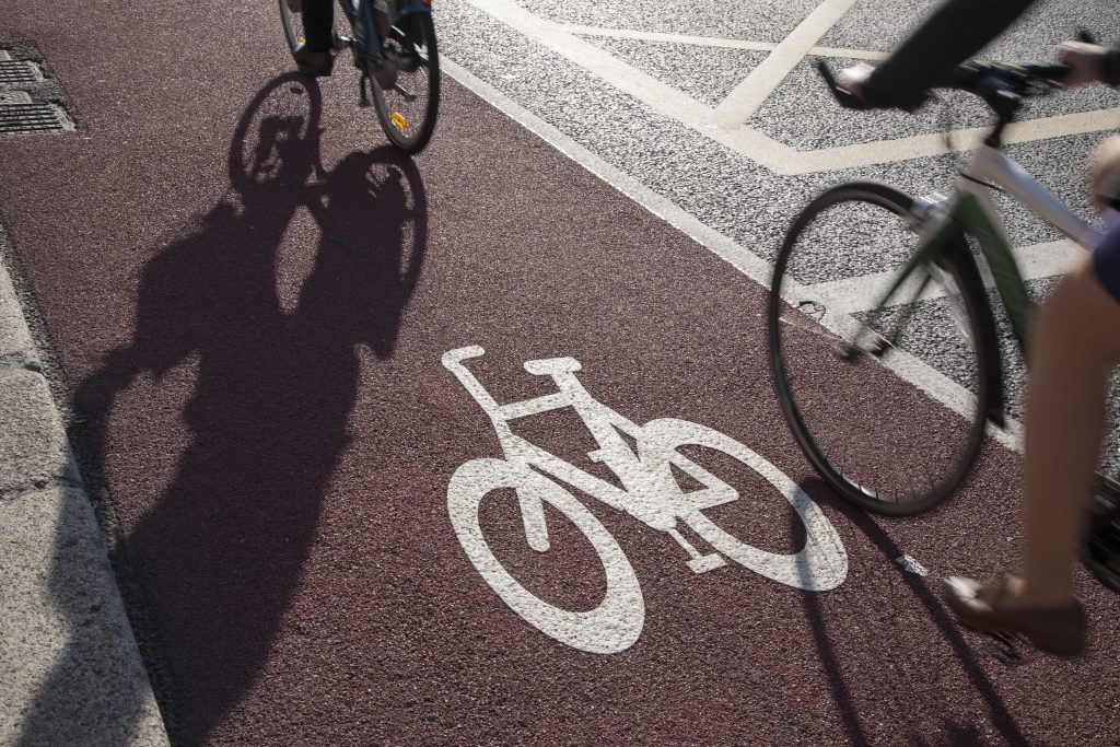 Cycle Lane with Cyclist