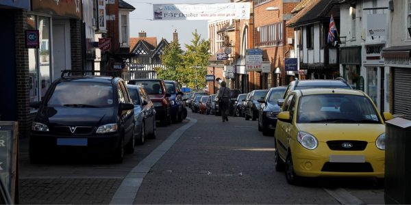Cars parked on High Street